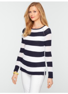 Mesh-Stitch Bold Stripe Sweater