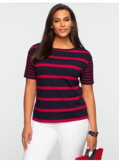 Striped Slub-Knit Drop Shoulder Tee