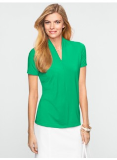 Stand V-Neck Top