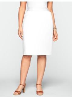 Polished Sateen Pickstitched Pencil Skirt