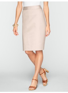Polished Sateen Pickstitched Pencil Skirt
