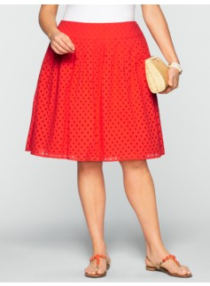 Pleated Dot Eyelet Skirt