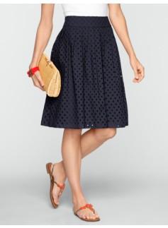 Pleated Dot Eyelet Skirt