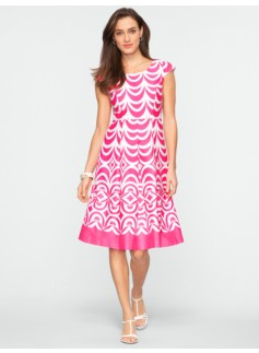 Geo-Scallop Fit-and-Flare Dress