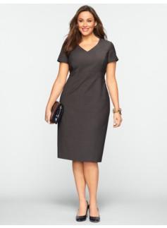 Seasonless Wool Back-Pleat V-Neck Dress