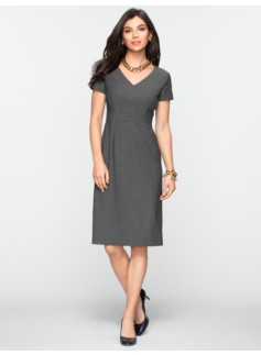 Seasonless Wool Back-Pleat V-Neck Dress