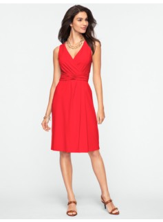 Ruched Twist-Front Wrap Dress