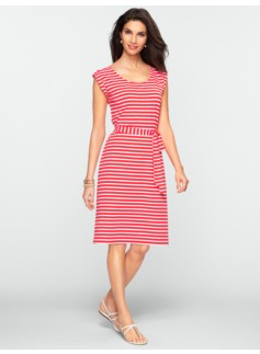 Striped Button-Tab Shoulder Dress