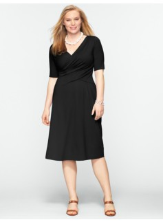 Ruched Surplice-Bodice Dress
