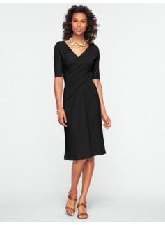 Ruched Surplice-Bodice Dress