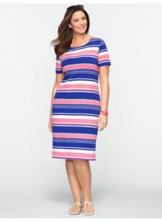Fiesta Stripes Zip-Shoulder Tee Dress