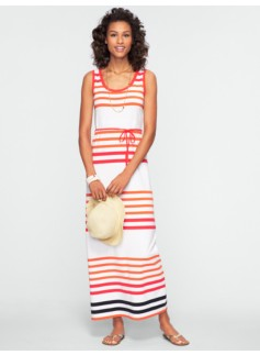 Blocked-Stripe Maxi Dress