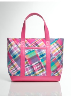 Pink Madras Plaid Canvas & Leather Tote