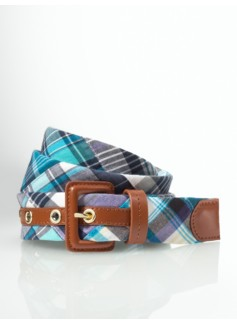 Blue Madras Plaid Leather Belt