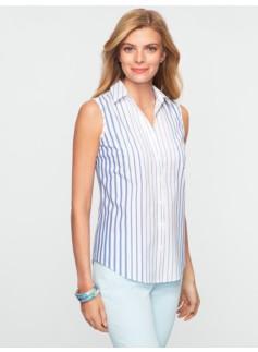 Engineered Stripes Wrinkle-Resistant Sleeveless Shirt