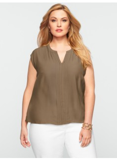Pintucked Cap-Sleeve Top