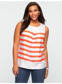 Striped Pleated-Neckline Top