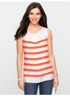 Striped Pleated-Neckline Top
