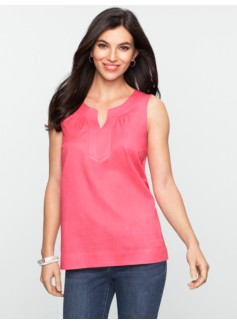 Sleeveless Notched Bateau Cotton Voile Top