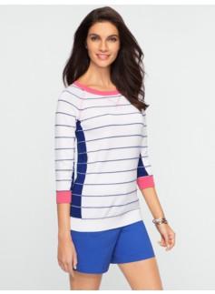 Blocked-Stripe Sport Sweater
