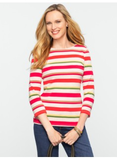 Multi-Stripe Pima Cotton Bateau Tee