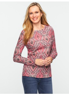 Pima Cotton Medallion Paisley Long-Sleeve Tee