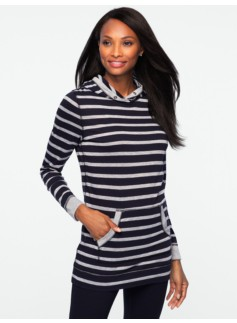 Patch Stripe Tunic Hoodie