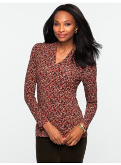 Platinum Jersey Mosaic Dots Stand V-Neck Top