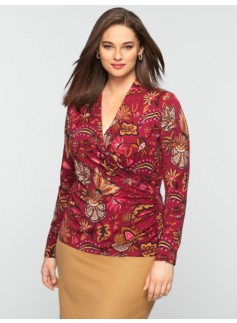 Platinum Jersey Floral Vine Ruched Wrap Top