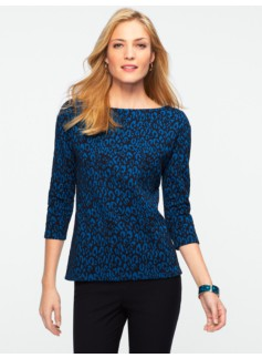 Jacquard Leopard Zip-Shoulder Top