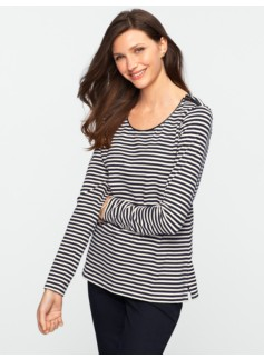 Faux-Leather Trimmed Striped Shoulder Zip-Tee