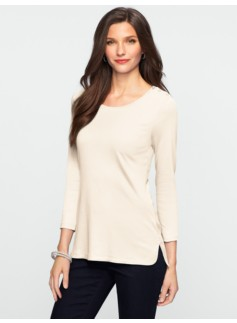 Luxe Interlock-Knit Shoulder-Button Tee