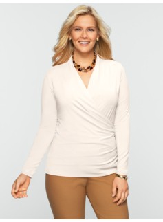 Platinum Jersey Ruched Wrap Top