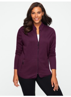 Quilted Stretch Weekend Terry Two-Way Zip Jacket