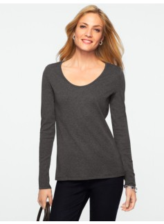 Pima Cotton Heathered Scoopneck Tee