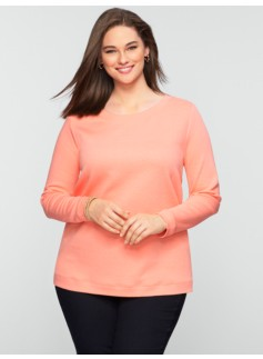 Quilted-Front Double-Knit Sweatshirt