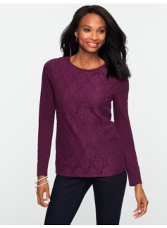 Floral Lace-Front Tee