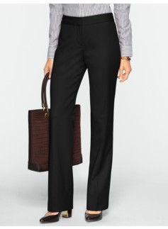 Curvy Italian Flannel Wide-Leg Trousers