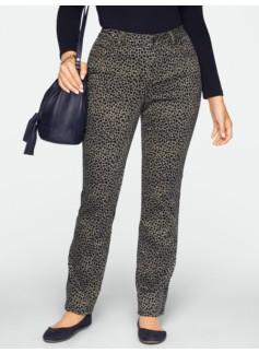 Slimming Signature Straight-Leg Snow Leopard Jeans