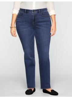 Slimming Curvy Dusk-Wash Straight-Leg Jeans