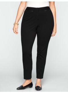 Heritage Faux-Leather Trimmed Ponte Ankle Pants