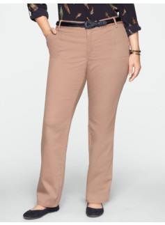 Heritage Peached Broken-Twill Straight-Leg Pants