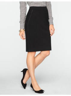 Refined Ponte Leather-Trim Skirt