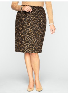 Brushed Animal-Jacquard Pencil Skirt