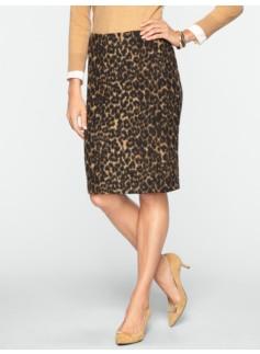 Brushed Animal-Jacquard Pencil Skirt