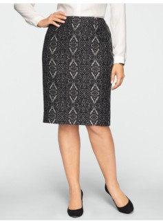 Damask Jacquard Pencil Skirt