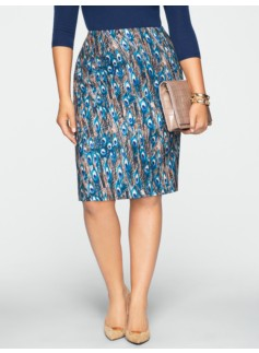 Peacock Feather Pencil Skirt