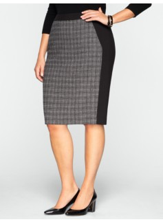 Plaid & Double-Weave Pencil Skirt