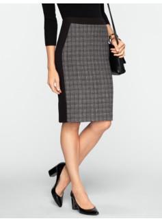 Plaid & Double-Weave Pencil Skirt