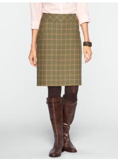 Windowpane-Plaid A-Line Skirt